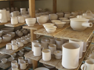 Pots ready for glazing